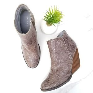 Very Volatile Whitby Silver Leather Wedge Booties